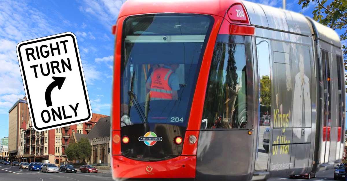 Right turning tram
